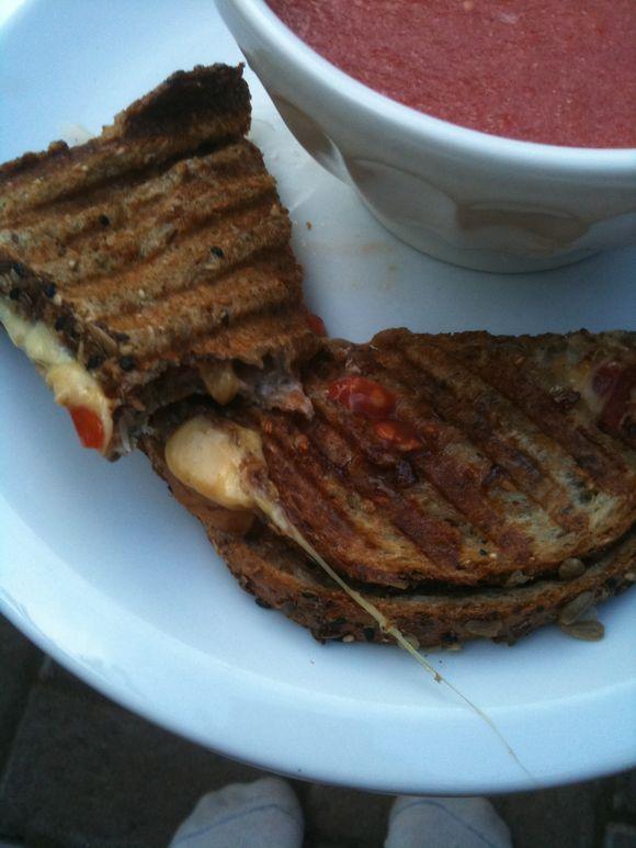 Smoked mozzarella caprese panino, tomato soup of the month club, Portland, OR