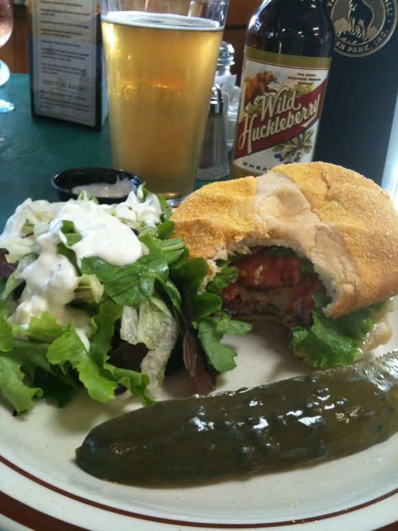 Mushroom/Swiss cheeseburger, Swiftcurrent Restaurant, Glacier Nat'l Park, MT