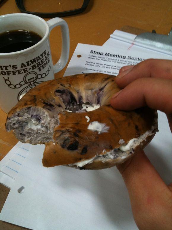 Blueberry bagel sandwich, work break