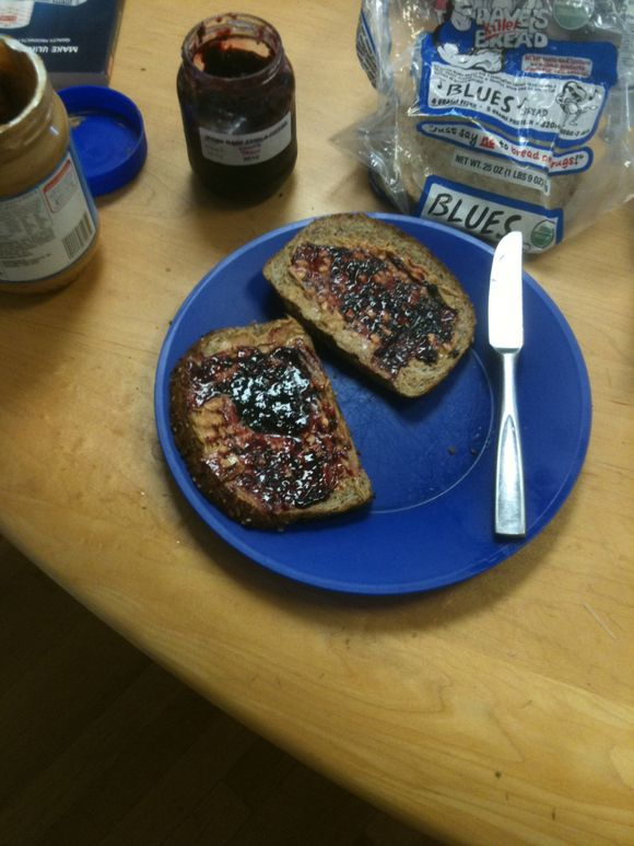 Peanut butter and blackberry jam on daves killer