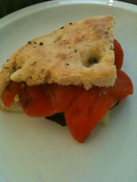 Roasted pepper/basil on focaccia, Britt's dinner for cacao, Portland OR
