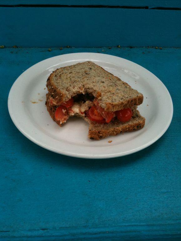Caprese sandwich, lunch break, Portland, OR