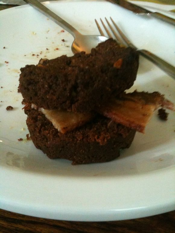 Coconut chocolate bacon muffin sandwich, Britt's recipe