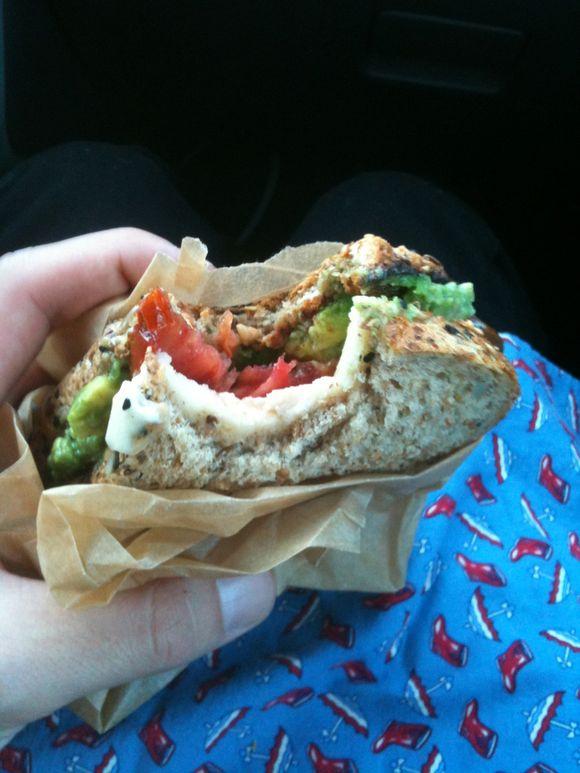 Tomozzacado sandwich, Britt's recipe, PDX>LBW