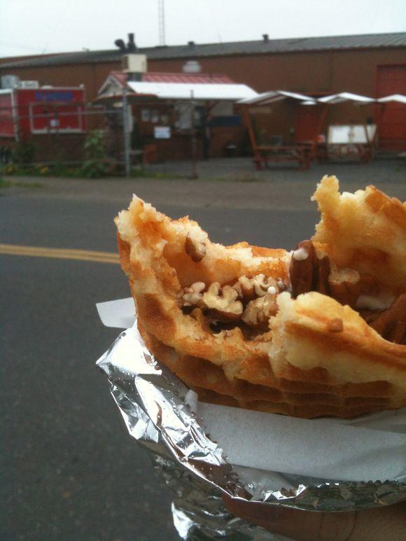 Maple/pecan waffle sandwich, Flavour spot, Portland, OR