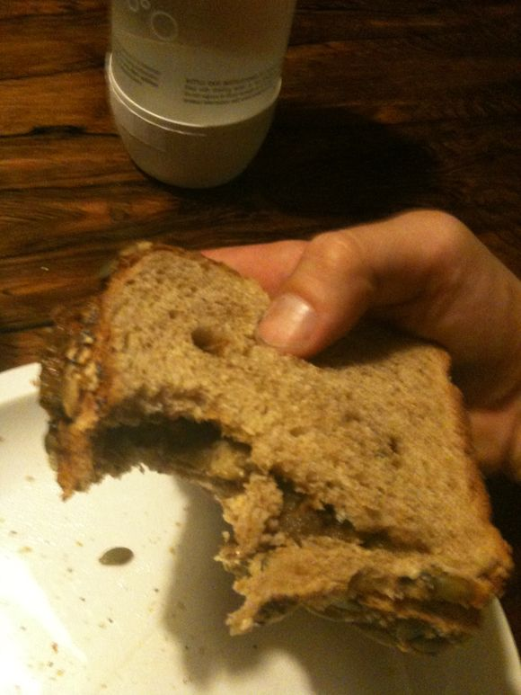 Apple butter on Dave's killer bread